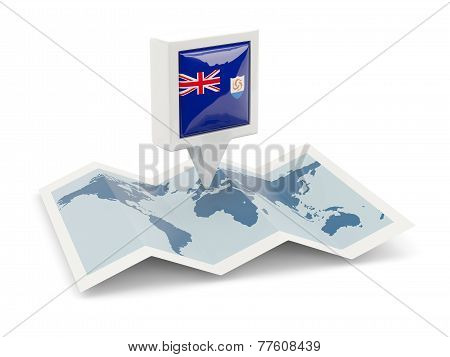 Square Pin With Flag Of Anguilla On The Map