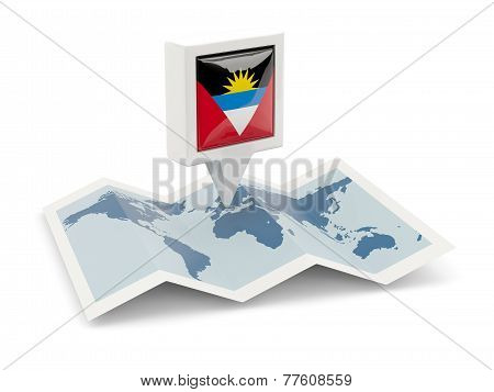 Square Pin With Flag Of Antigua And Barbuda On The Map