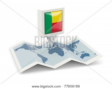 Square Pin With Flag Of Benin On The Map