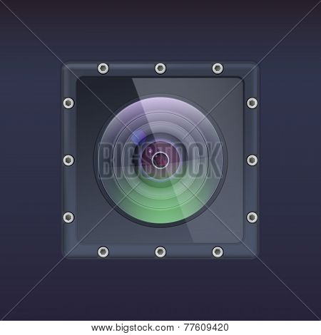 Action camera in a protective housing with bolts.