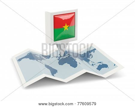 Square Pin With Flag Of Burkina Faso On The Map