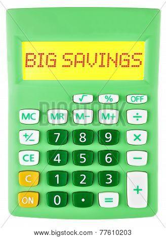 Calculator With Big Savings On Display