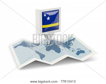 Square Pin With Flag Of Curacao On The Map