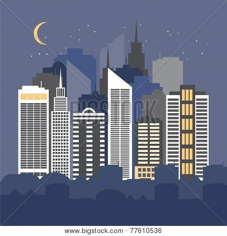 Vector Illustration Of A City At Night.