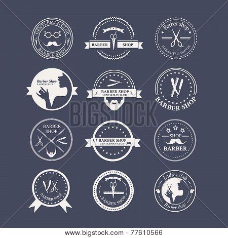 Perfect Set Of Barber And Haircut Logos