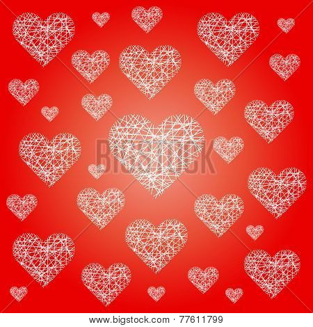 Vector Red Valentine Festive Pattern Background With Irregular White Sketchy Hearts