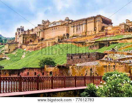 India, Rajasthan, panoramic view of  Amber Fort