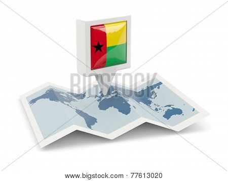 Square Pin With Flag Of Guinea Bissau On The Map