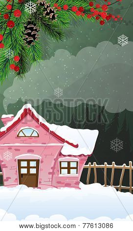 Brick  House In Winter Forest