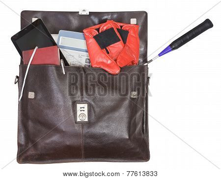 Open Briefcase With Business And Sport Items