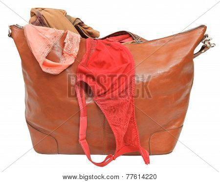 Big Leather Handbag With Bra And Pink Lace Panties
