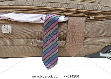Two Ties From Ajar Suitcase