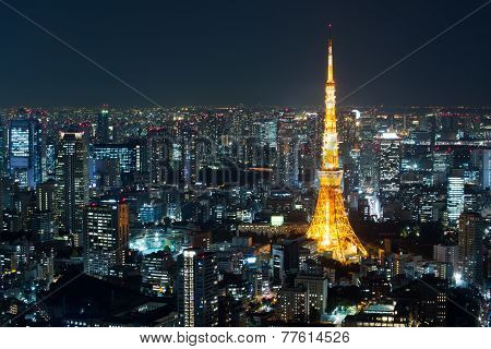 Top View Of Tokyo Cityscape At Night Time, Japan