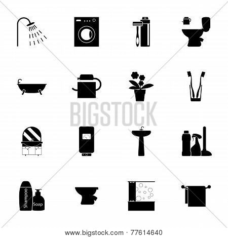 Bathroom Silhouettes Icons Set