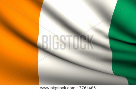 Flying Flag Of Cote D'ivoire | All Countries Collection |