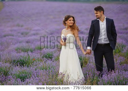 Wedding walk on a field of lavender.