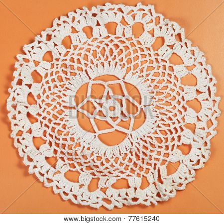 Embroidered Crochet Lace Flower Ornament Placemat