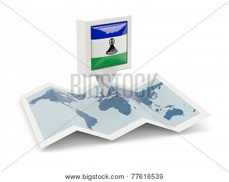 Square Pin With Flag Of Lesotho On The Map