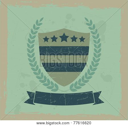 Vintage design element shield and wreath