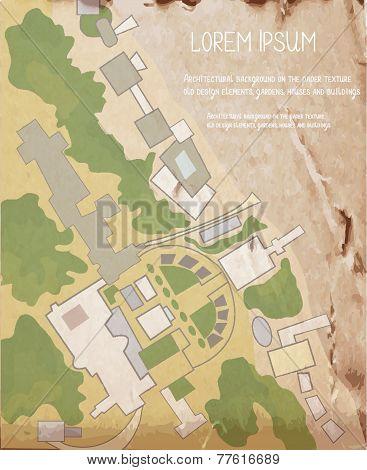 Architecture plan on the vintage texture