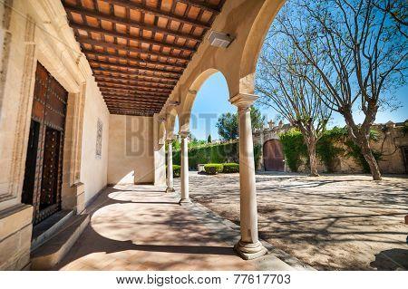 Jerez, Spain - May 02, 2014: Arch in Monastery Charterhouse of Jerez de la Frontera, Spain