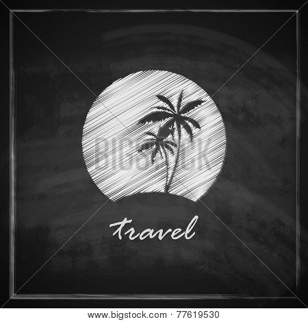 vintage illustration with tropic island sign on blackboard background. travel concept