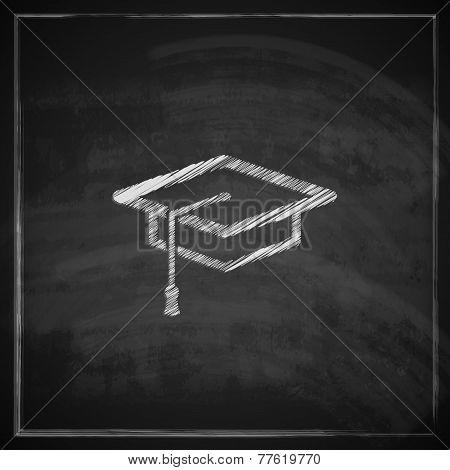vintage illustration with graduation cap sign on blackboard background. educational concept