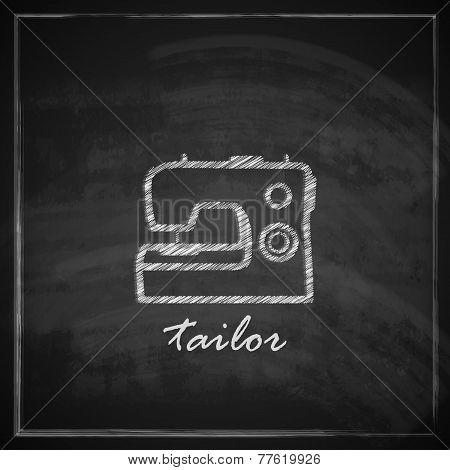 vintage illustration with sewing machine sign on blackboard background.