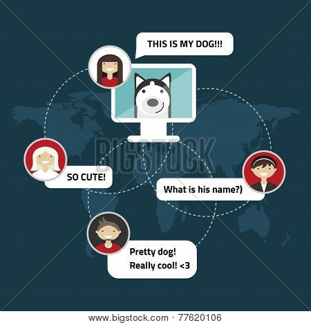 Flat Social Media And Network Concept. Connection Between People. One Person Showing The Dog To Othe