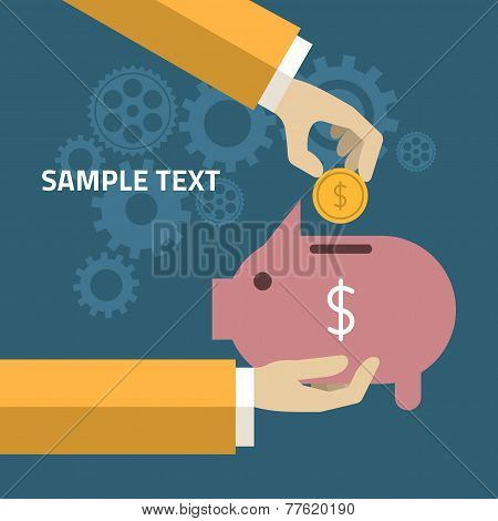 Human Hand And Moneybox Piggy. Illustration In Flat Design Style. Finance Business Concept For Prese