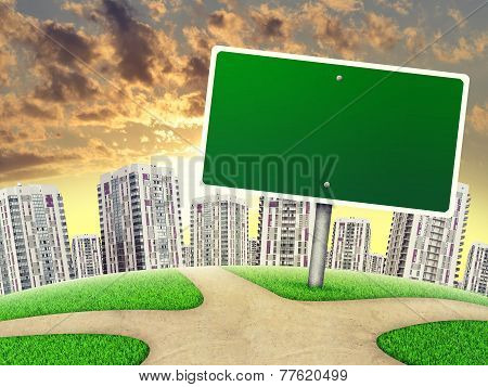 Billboard against line of high-rise buildings, on sunset, curved Earth
