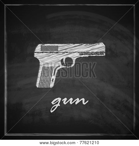vintage illustration with gun on blackboard background.
