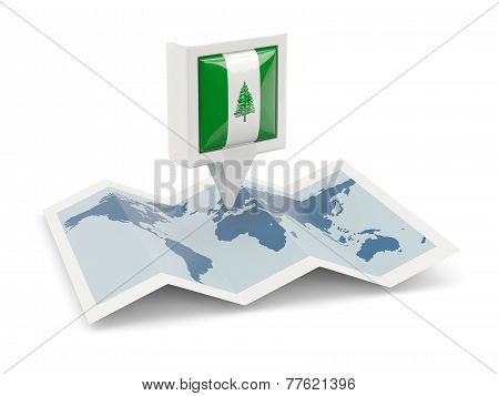 Square Pin With Flag Of Norfolk Island On The Map