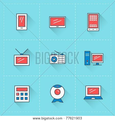 Computer And Devices Icons. Vector Icon Set In Flat Design Style. For Web Site Design And Mobile App
