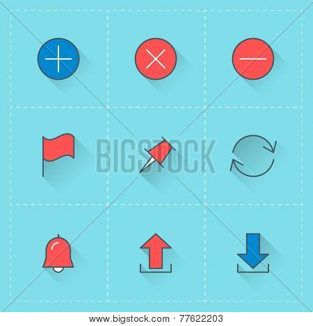 Vector icon set for internet UI in flat design style. Add, delete, flag, upload and download files