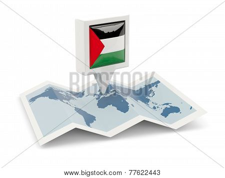 Square Pin With Flag Of Palestinian Territory On The Map