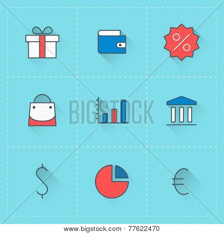 Business Icons. Vector Icon Set In Flat Design Style. For Web Site Design And Mobile Apps