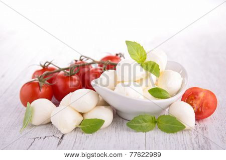 tomato,mozzarella and basil