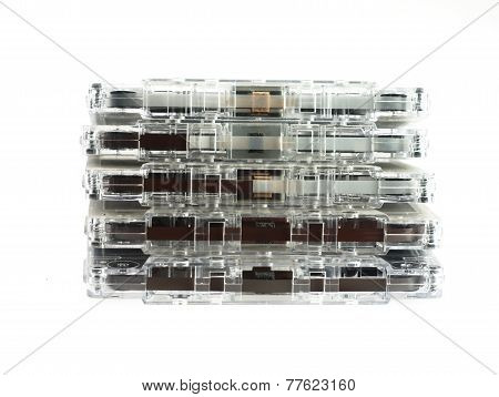 Cassettes. On A White Background.