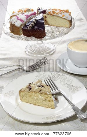 Cake With Chocolate Curls On A Plate