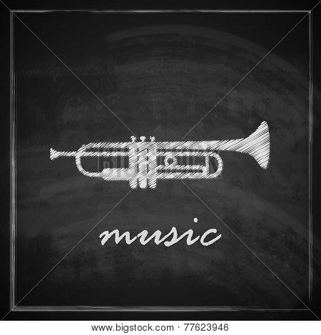 vintage illustration with the trumpet on blackboard background. music illustration