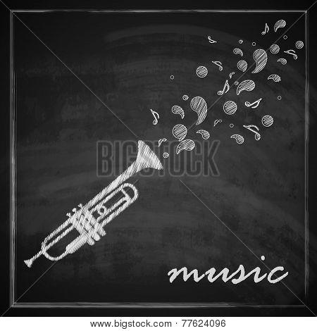 vintage illustration with trumpet on blackboard background. music illustration