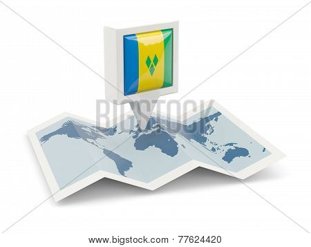 Square Pin With Flag Of Saint Vincent And The Grenadines On The Map