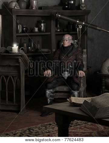 Sorcerer Sitting in his Study