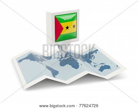 Square Pin With Flag Of Sao Tome And Principe On The Map