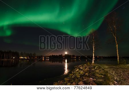 Aurora Borealis And Moonrise
