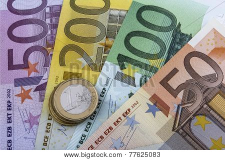 Euros (eur) Coins And Notes.