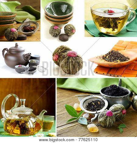 collage useful green and black tea and serving for tea