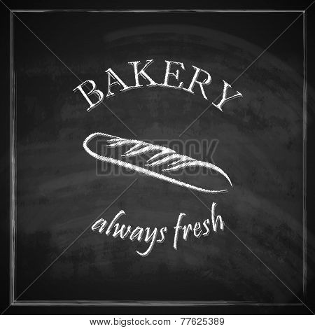 vintage illustration with a loaf of bread on blackboard background. bakery concept