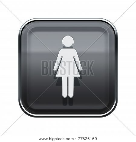 Woman Icon Glossy Grey, Isolated On White Background